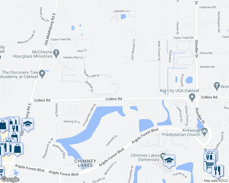 map of restaurants, bars, coffee shops, grocery stores, and more near 8993 Redtail Drive in Jacksonville