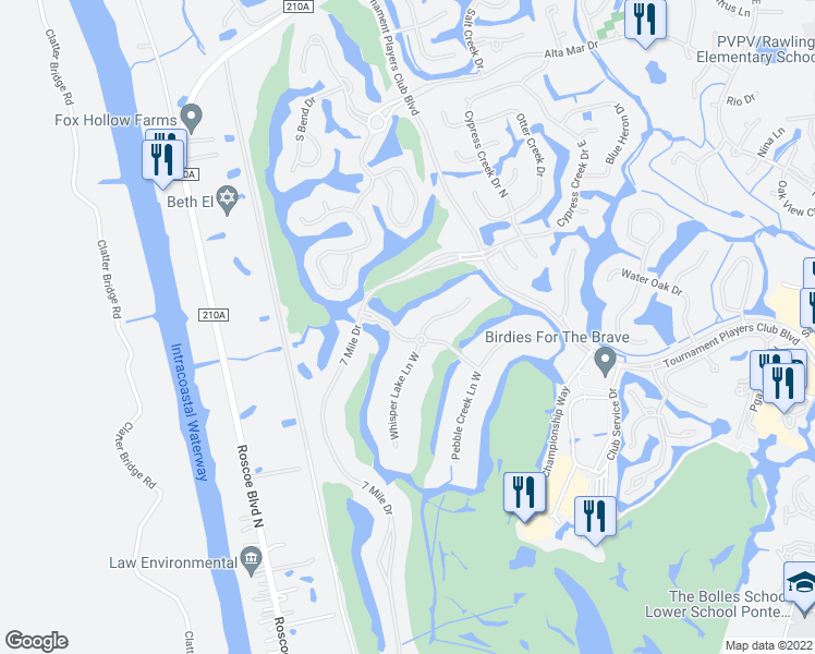 map of restaurants, bars, coffee shops, grocery stores, and more near 8001 Whisper Lake Lane East in Ponte Vedra