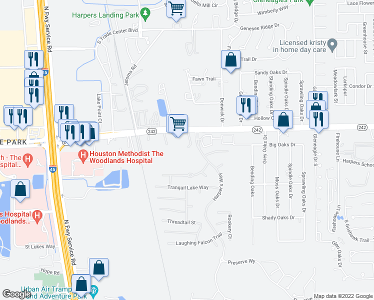 map of restaurants, bars, coffee shops, grocery stores, and more near 8638 Texas 242 in Conroe