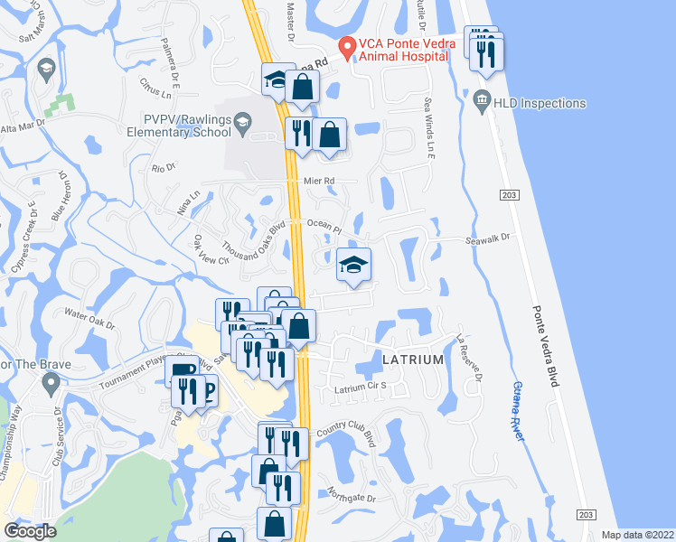 map of restaurants, bars, coffee shops, grocery stores, and more near 870 Coral Reef Way in Ponte Vedra Beach