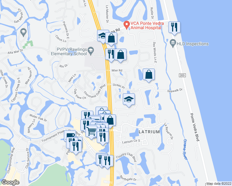 map of restaurants, bars, coffee shops, grocery stores, and more near 922 Shoreline Circle in Ponte Vedra