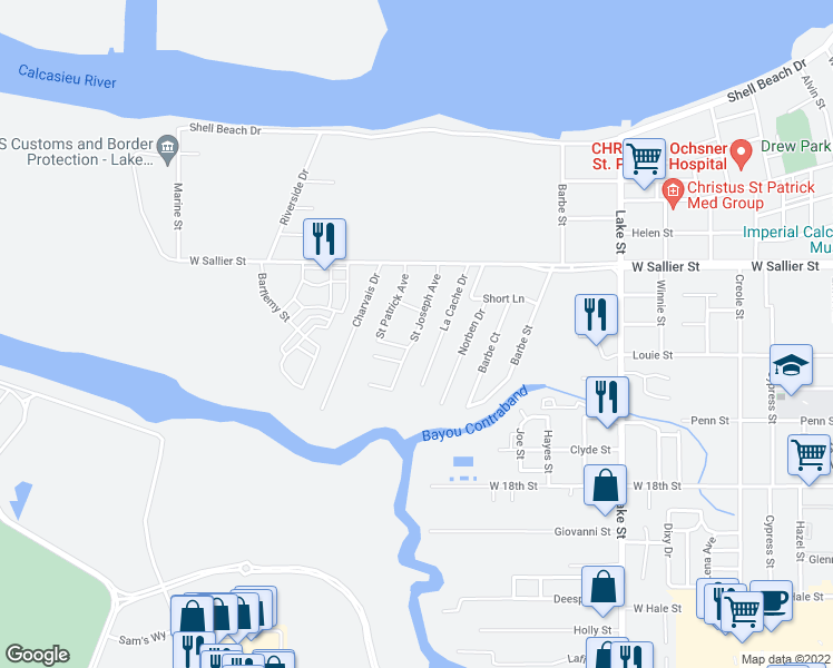 map of restaurants, bars, coffee shops, grocery stores, and more near Saint Joseph Avenue in Lake Charles