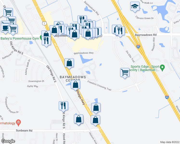 map of restaurants, bars, coffee shops, grocery stores, and more near 8335-3 Freedom Crossing Ap in Jacksonville