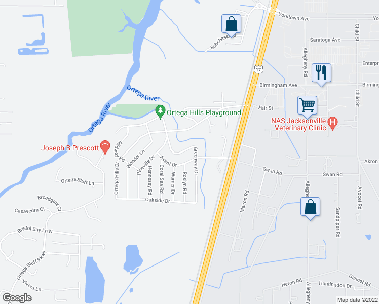 map of restaurants, bars, coffee shops, grocery stores, and more near 7331 Greenway Drive in Jacksonville