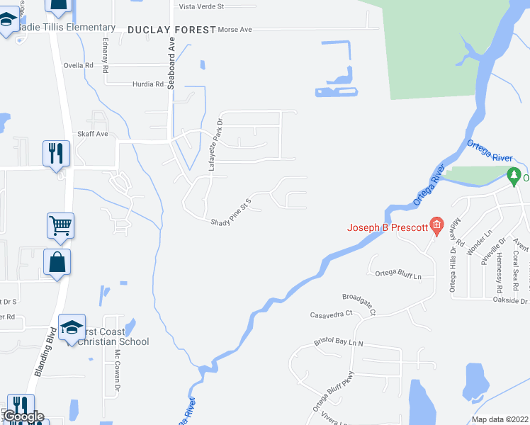 map of restaurants, bars, coffee shops, grocery stores, and more near 5498 Cougar Park Court in Jacksonville