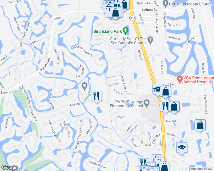 map of restaurants, bars, coffee shops, grocery stores, and more near 592 Alhambra Lane North in Ponte Vedra Beach