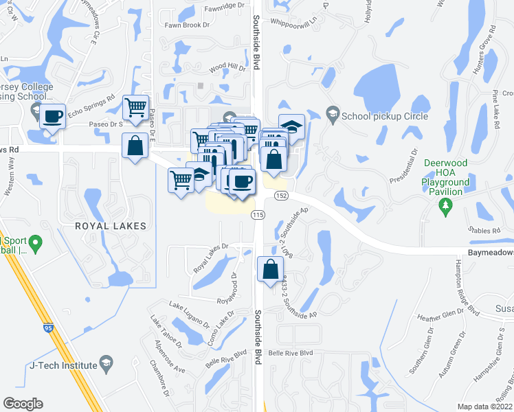 map of restaurants, bars, coffee shops, grocery stores, and more near 7932 Southside Blvd in Jacksonville