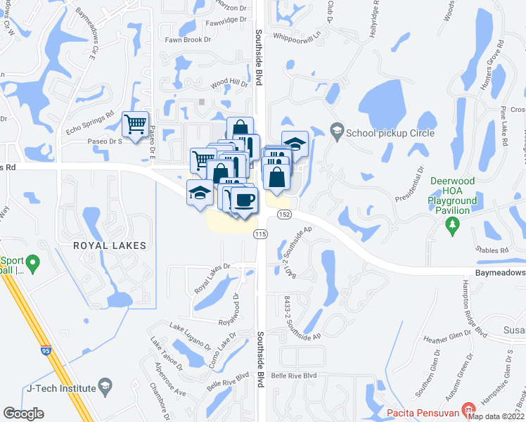 map of restaurants, bars, coffee shops, grocery stores, and more near Southside Boulevard & Baymeadows Road in Jacksonville