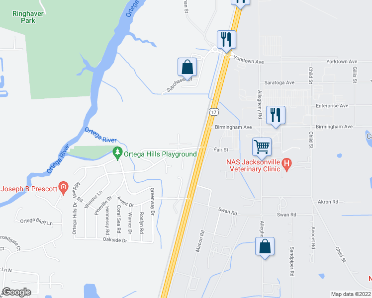 map of restaurants, bars, coffee shops, grocery stores, and more near 4714 Ortega Hills Drive in Jacksonville