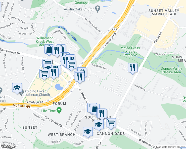 map of restaurants, bars, coffee shops, grocery stores, and more near 4009 Sabio Drive in Austin