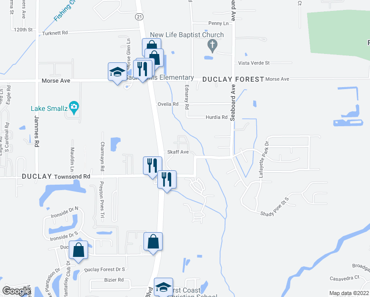 map of restaurants, bars, coffee shops, grocery stores, and more near 6860 Skaff Avenue in Jacksonville