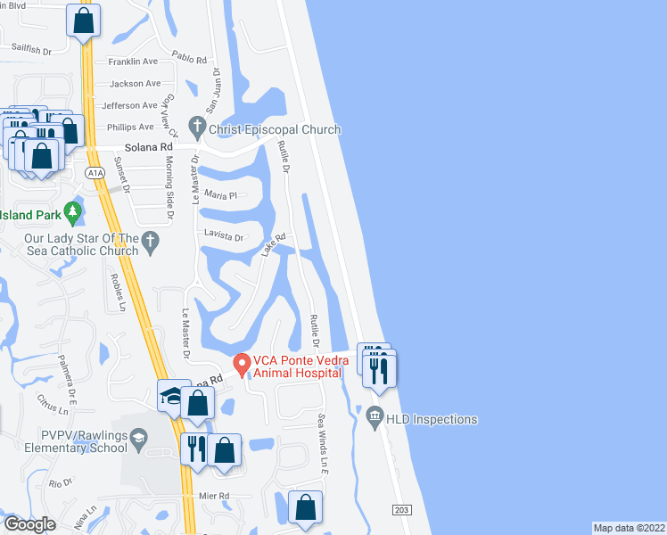 map of restaurants, bars, coffee shops, grocery stores, and more near 540 Ponte Vedra Boulevard in Ponte Vedra