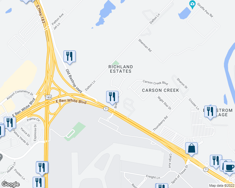 map of restaurants, bars, coffee shops, grocery stores, and more near 1404 Brandt Drive in Austin