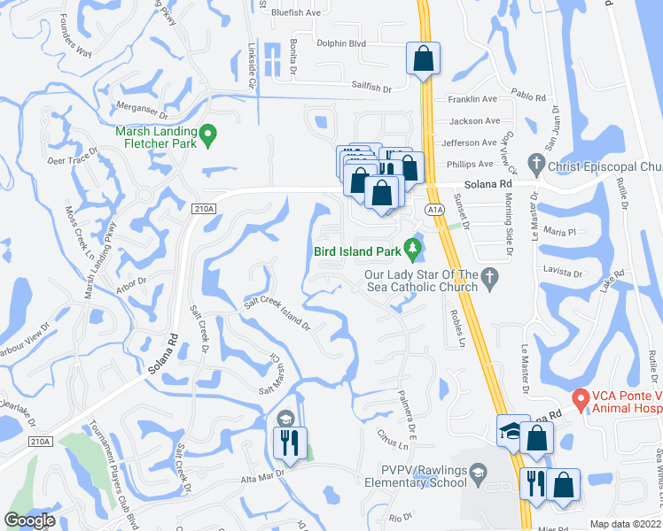 map of restaurants, bars, coffee shops, grocery stores, and more near 900 Ironwood Drive in Ponte Vedra Beach