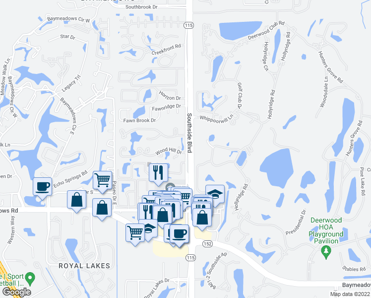 map of restaurants, bars, coffee shops, grocery stores, and more near 7992-8173 Southside Boulevard in Jacksonville