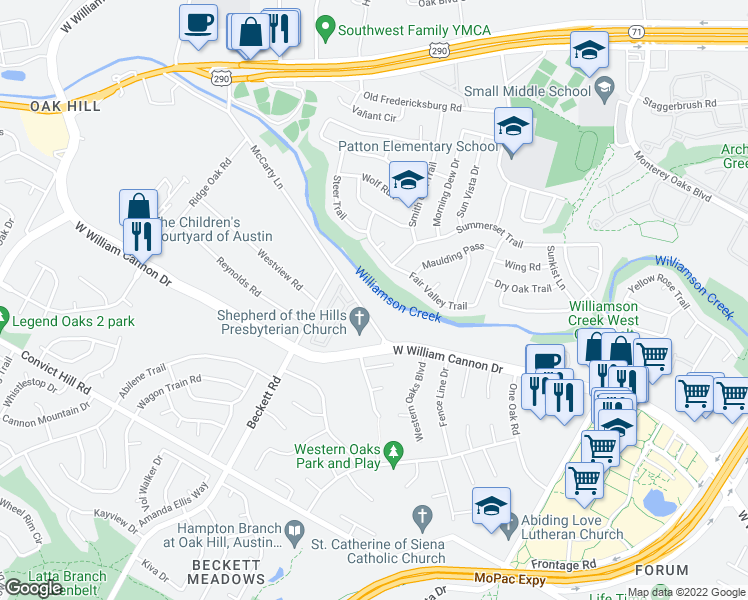 map of restaurants, bars, coffee shops, grocery stores, and more near 5125 Convict Hill Road in Austin