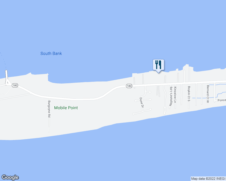 map of restaurants, bars, coffee shops, grocery stores, and more near 1616 East 2nd Street in Gulf Shores