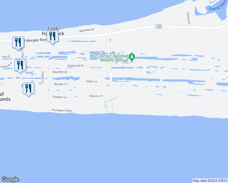 map of restaurants, bars, coffee shops, grocery stores, and more near 9334 Marin Way in Gulf Shores