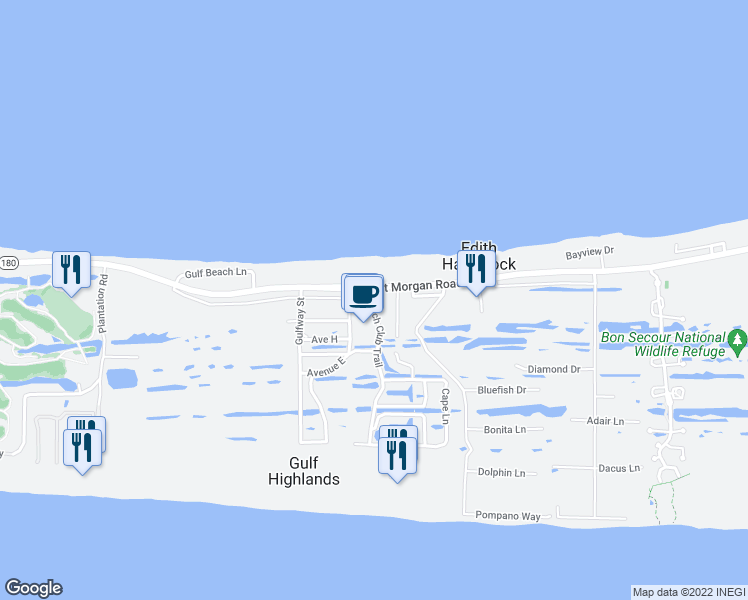 map of restaurants, bars, coffee shops, grocery stores, and more near 375 Beach Club Trail in Gulf Shores