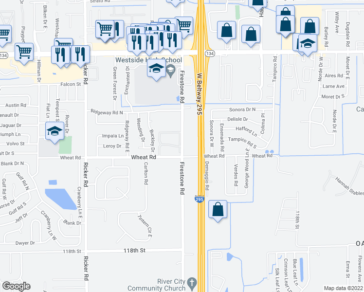 map of restaurants, bars, coffee shops, grocery stores, and more near 5928 5928-2 Firestone Ap in Jacksonville