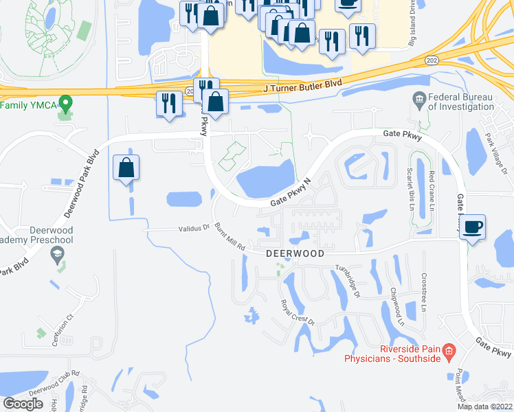 map of restaurants, bars, coffee shops, grocery stores, and more near 6140 Gate Parkway in Jacksonville
