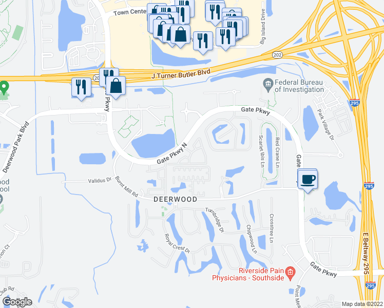 map of restaurants, bars, coffee shops, grocery stores, and more near 9520 Florida 152 in Jacksonville
