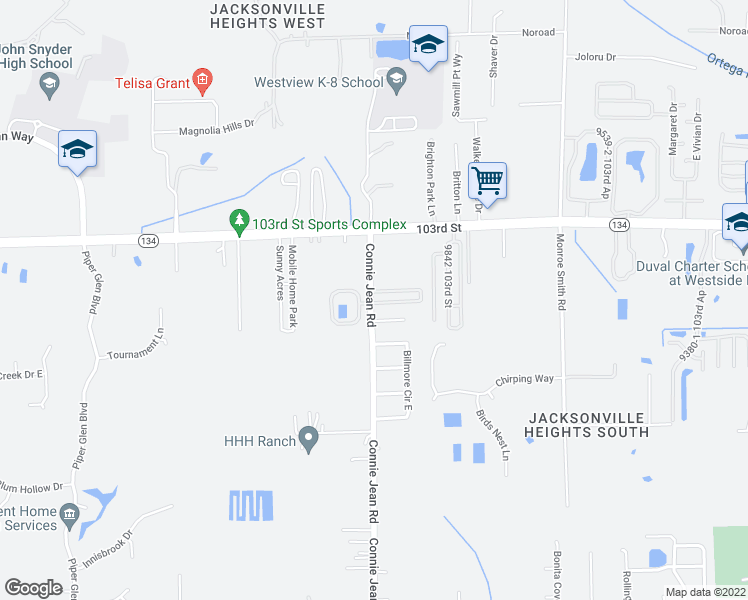 map of restaurants, bars, coffee shops, grocery stores, and more near 5528-5558 Connie Jean Road in Jacksonville