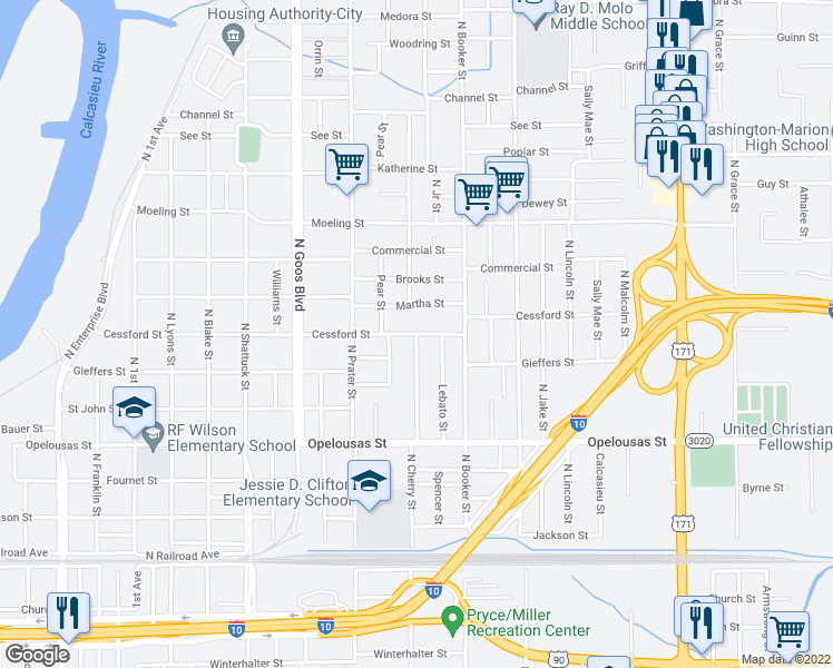 map of restaurants, bars, coffee shops, grocery stores, and more near North Cherry Street in Lake Charles