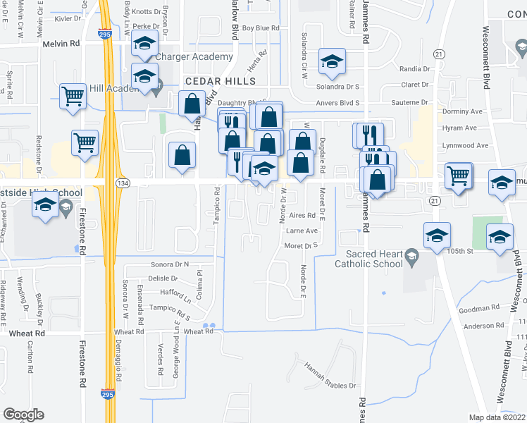 map of restaurants, bars, coffee shops, grocery stores, and more near 6650 103rd Street in Jacksonville