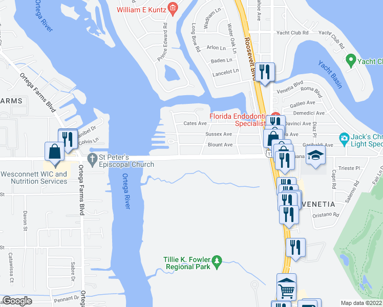 map of restaurants, bars, coffee shops, grocery stores, and more near 4721 Timuquana Road in Jacksonville