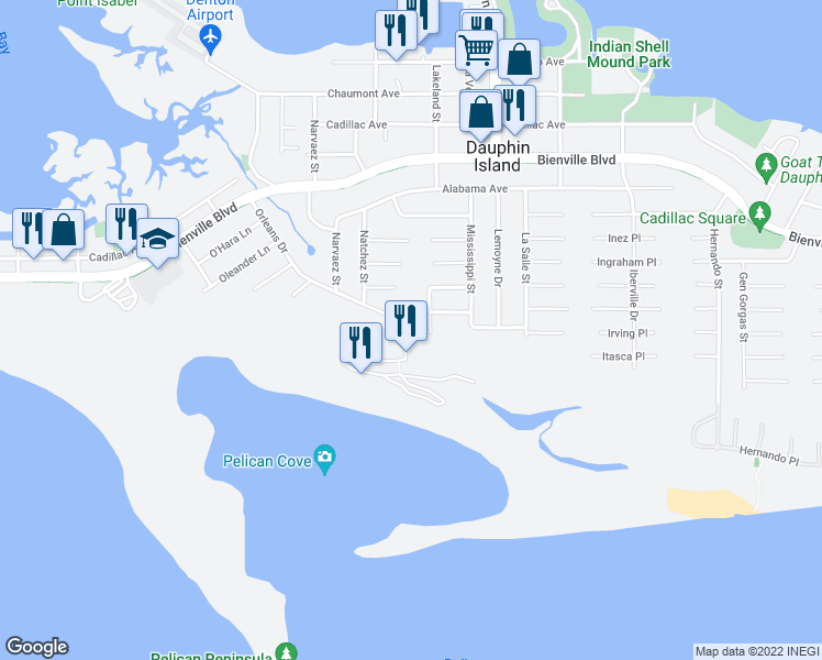 map of restaurants, bars, coffee shops, grocery stores, and more near 126 Orleans Drive in Dauphin Island