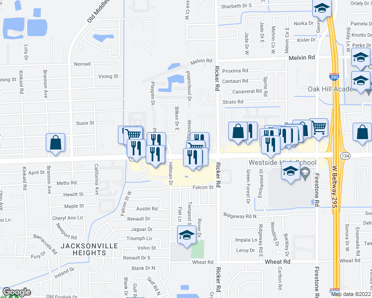 map of restaurants, bars, coffee shops, grocery stores, and more near 5340 Westchase Court in Jacksonville