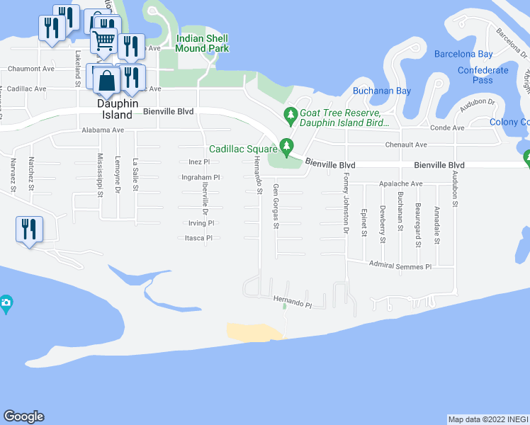 map of restaurants, bars, coffee shops, grocery stores, and more near 122 Hernando Street in Dauphin Island