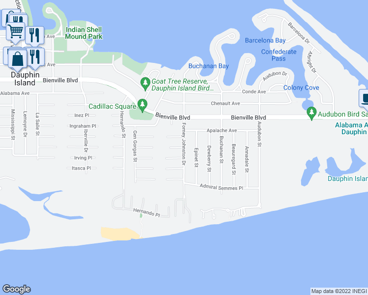 map of restaurants, bars, coffee shops, grocery stores, and more near 501 Ft Rosalie Place in Dauphin Island