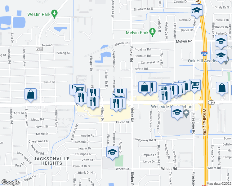 map of restaurants, bars, coffee shops, grocery stores, and more near 5243 Westchase Court in Jacksonville