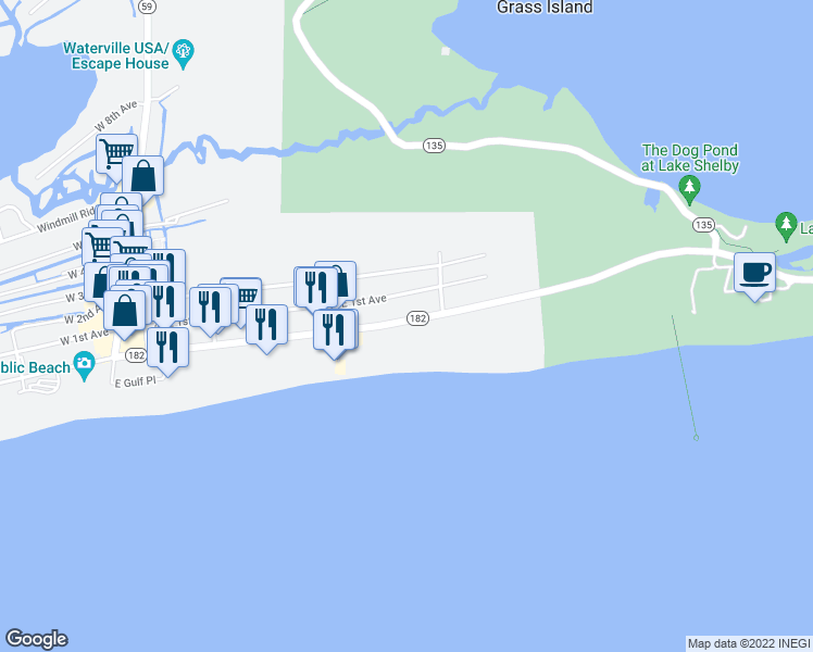 map of restaurants, bars, coffee shops, grocery stores, and more near 401 East Beach Boulevard in Gulf Shores