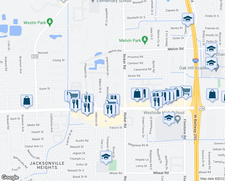 map of restaurants, bars, coffee shops, grocery stores, and more near 5132 Indian Lakes Court in Jacksonville