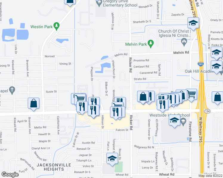 map of restaurants, bars, coffee shops, grocery stores, and more near 5032 Westchase Court in Jacksonville