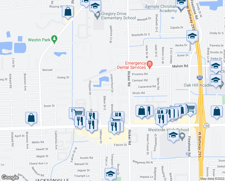 map of restaurants, bars, coffee shops, grocery stores, and more near 4813 Playschool Drive in Jacksonville