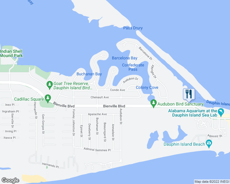 map of restaurants, bars, coffee shops, grocery stores, and more near 305 Conde Avenue in Dauphin Island