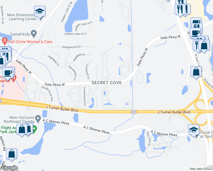 map of restaurants, bars, coffee shops, grocery stores, and more near 8450 Gate Parkway West in Jacksonville