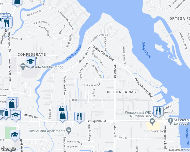 map of restaurants, bars, coffee shops, grocery stores, and more near Pine Cone Court in Jacksonville