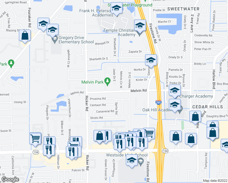 map of restaurants, bars, coffee shops, grocery stores, and more near Melvin Road in Jacksonville