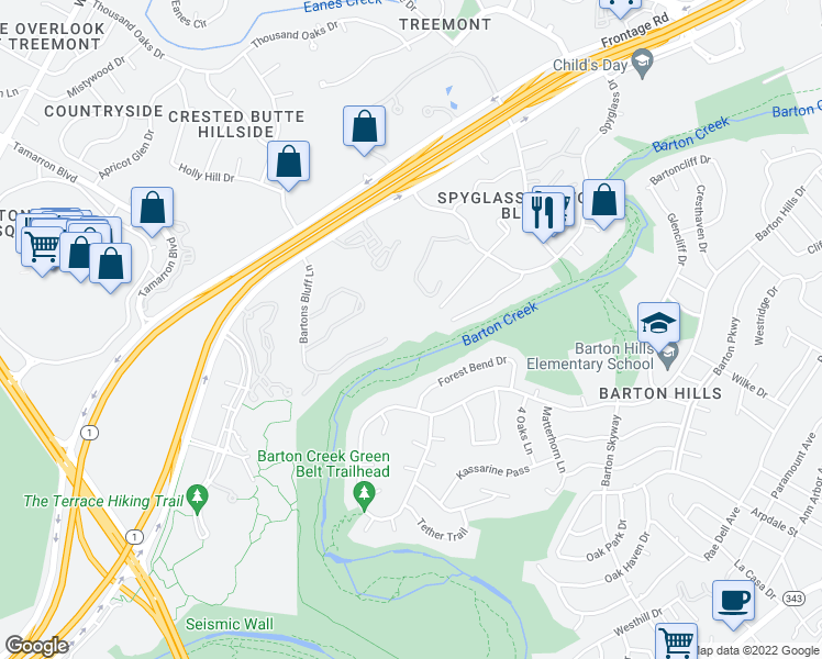 map of restaurants, bars, coffee shops, grocery stores, and more near 2701 Bartons Bluff Lane in Austin