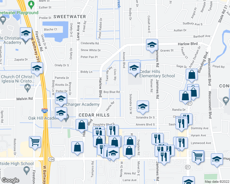 map of restaurants, bars, coffee shops, grocery stores, and more near Boy Blue Rd in Jacksonville