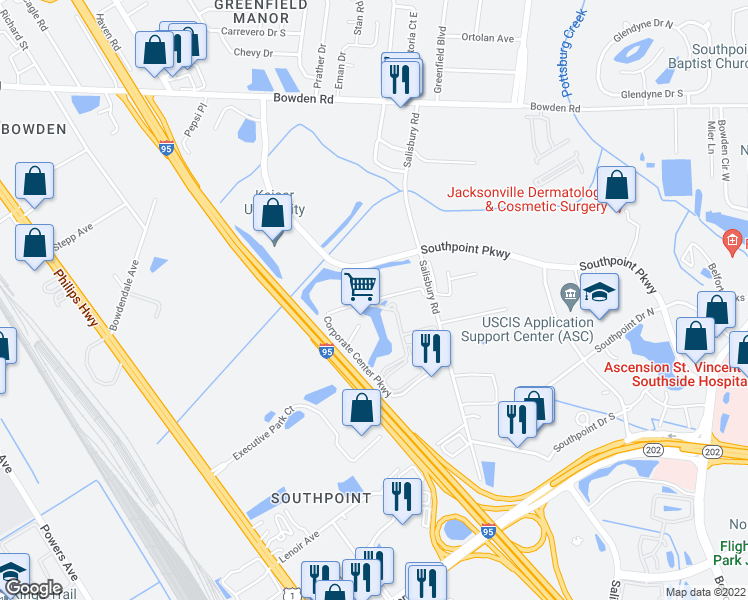 map of restaurants, bars, coffee shops, grocery stores, and more near 6600 Corporate Center Parkway in Jacksonville