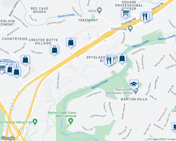 map of restaurants, bars, coffee shops, grocery stores, and more near 1781 Spyglass Drive in Austin