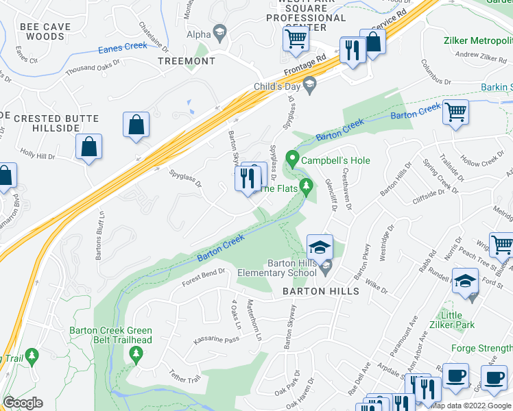 map of restaurants, bars, coffee shops, grocery stores, and more near Spyglass Dr & Barton Skyway in Austin