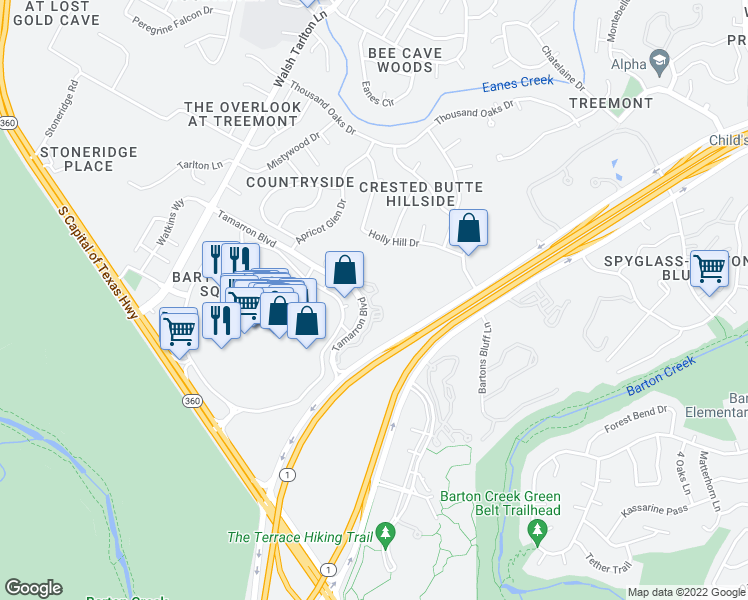 map of restaurants, bars, coffee shops, grocery stores, and more near 3050 Tamarron Boulevard in Austin
