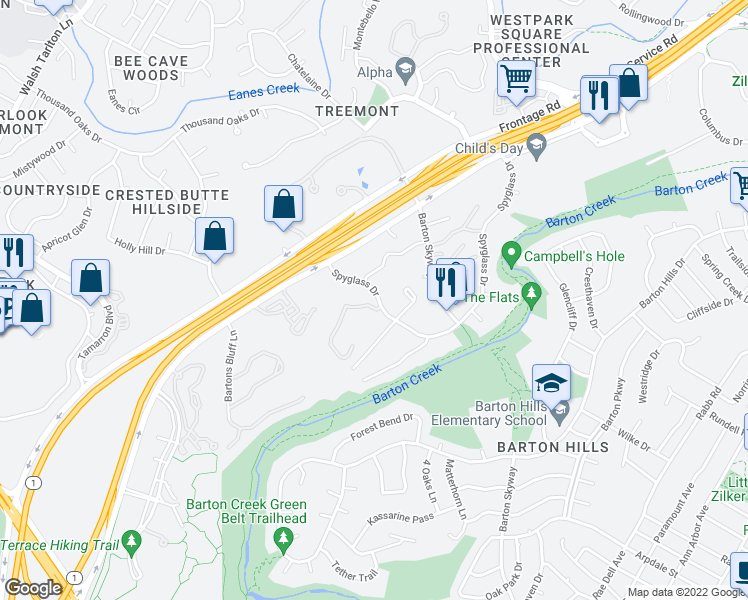 map of restaurants, bars, coffee shops, grocery stores, and more near Spyglass Drive in Austin